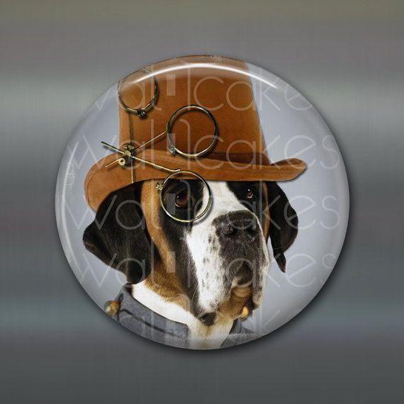 Steampunk Magnet, Hound Dog Decor, Kitchen Decor, Housewarming Gift Large  Fridge Magnet,