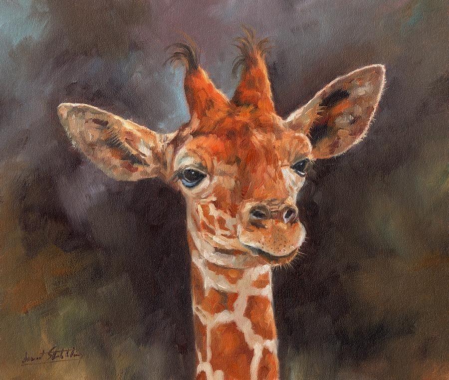 Animals Giraffe Bathroom/Dining Room Realism Oil Painting