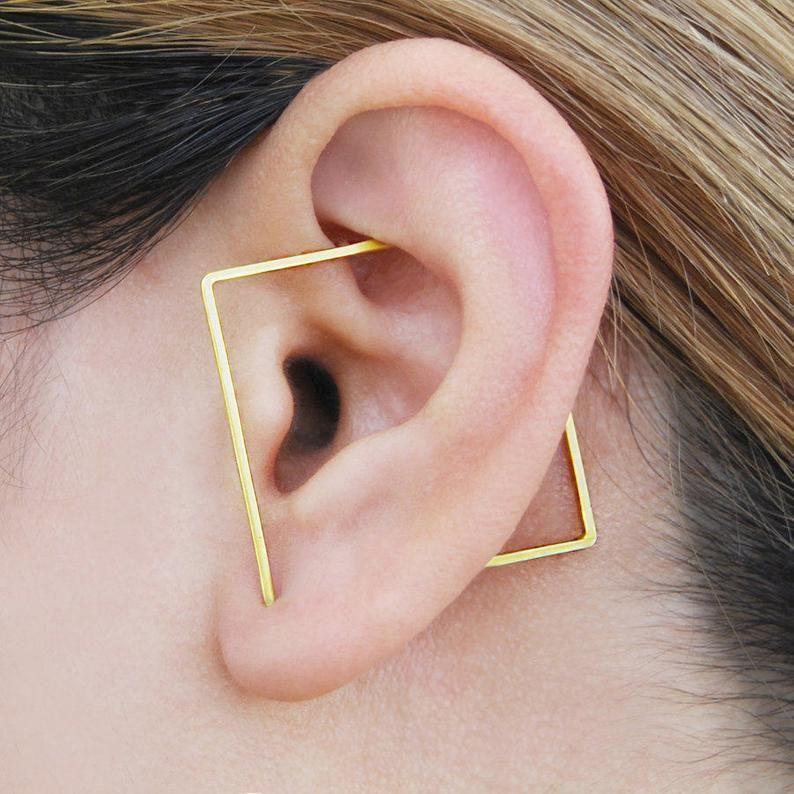 Gold triangle earrings Triangle earrings Gold geometric earrings Triangle earring Geometric dangle earrings Geometric earrings