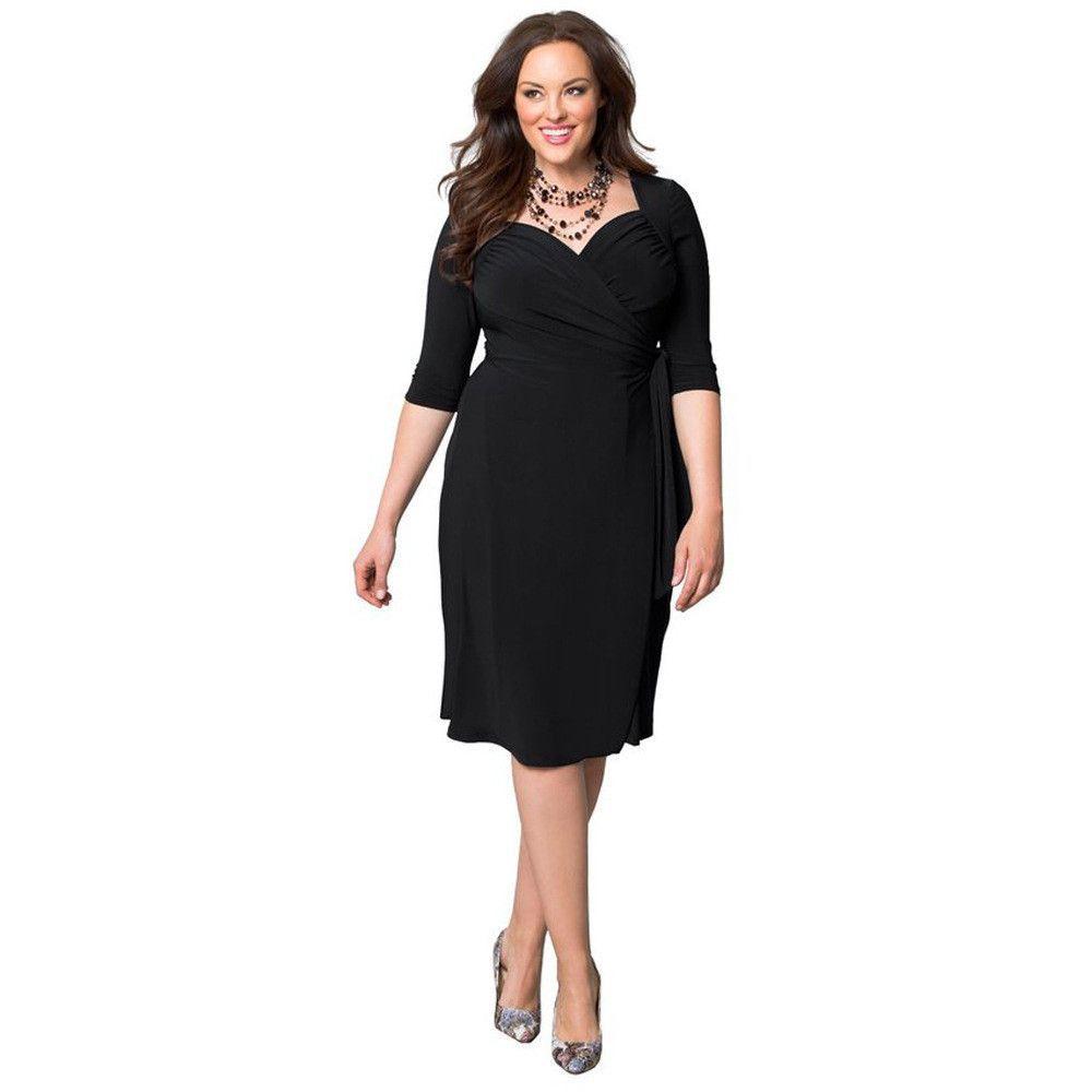 83e7282d84 Plus size pure color pleated wrap kneelength dress plus size