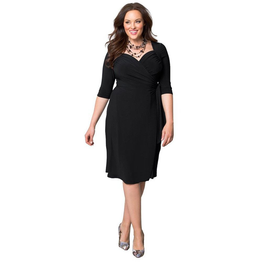 Plus size pure color pleated wrap kneelength dress plus size