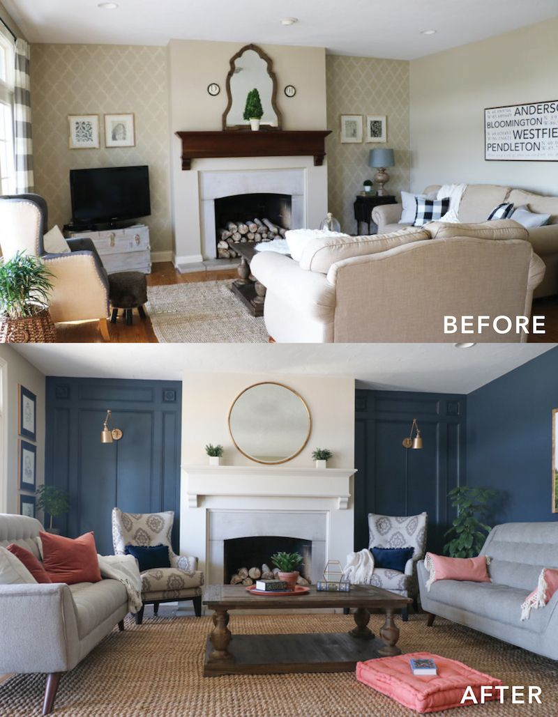 Living room makeover with the roomplace beautiful family for Living room navy walls