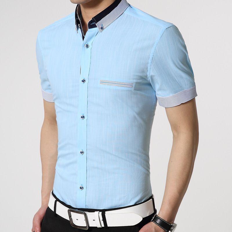 Hombres De La Marca Famosa Camisetas 2015 A Rayas De Manga Corta Para Hombre Slim Fit Algodon Lino Cam Camisas De Moda Para Hombres Camisas Masculinas Camisas