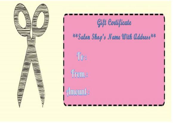 Haircut gift certificate templates salon gift certificate haircut gift certificate templates yelopaper Choice Image