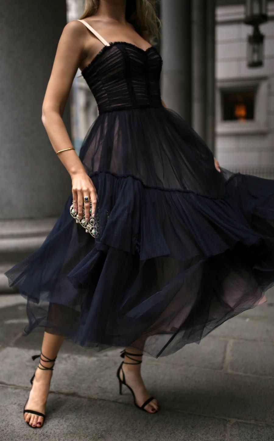 What To Wear For A Charity Gala Black Lace Tulle Bodice Style Flowy Midi Dress Black Strappy Ankle Wrap Heels Embell Fashion Dazzling Dress Modest Dresses [ 1448 x 900 Pixel ]