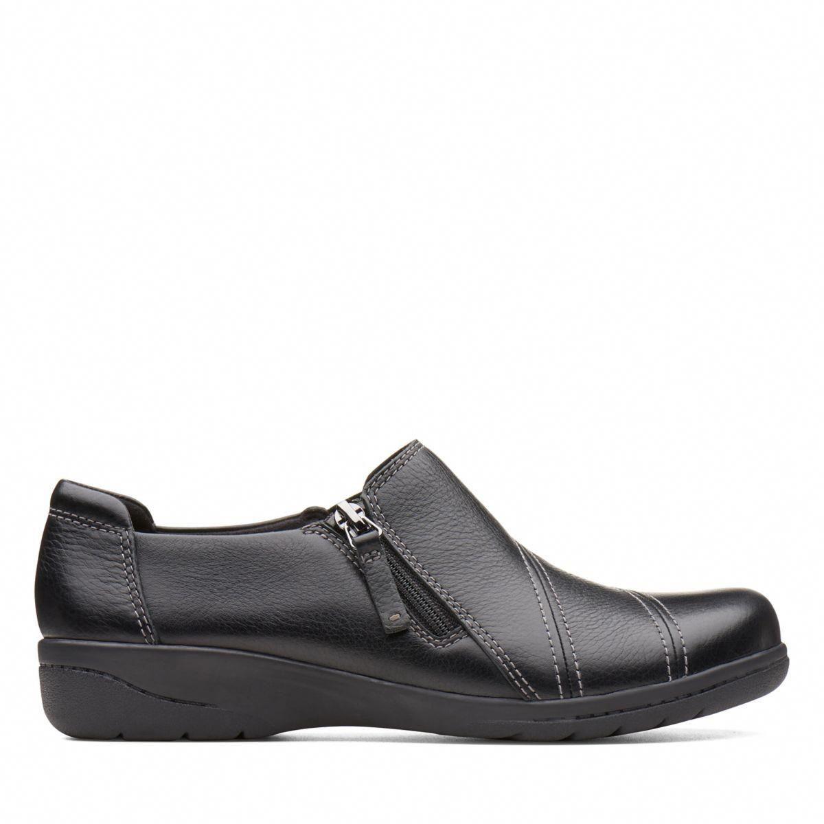 1ff8a46cca4 Clarks Cheyn Clay - Womens Shoes Black Leather 6.5 D (Medium)  womensshoes