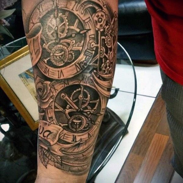 d89803804 Old school style black ink forearm tattoo of mechanical clock with ...