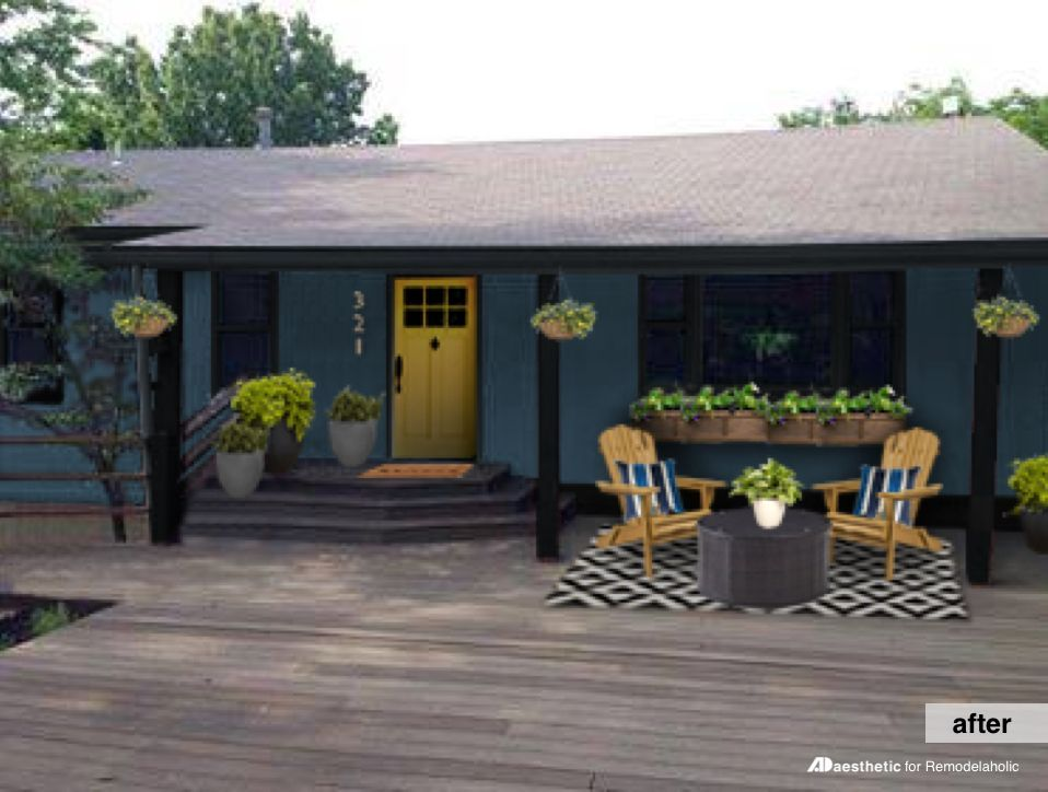 Real Life Rooms: Curb Appeal for a Dark Home Exterior (Remodelaholic) #woodenflowerboxes
