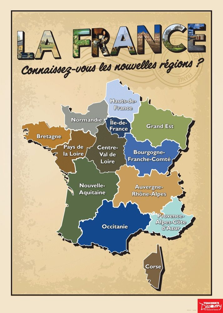 Map Of France Poster.French Regions Poster French Decor French Classroom French
