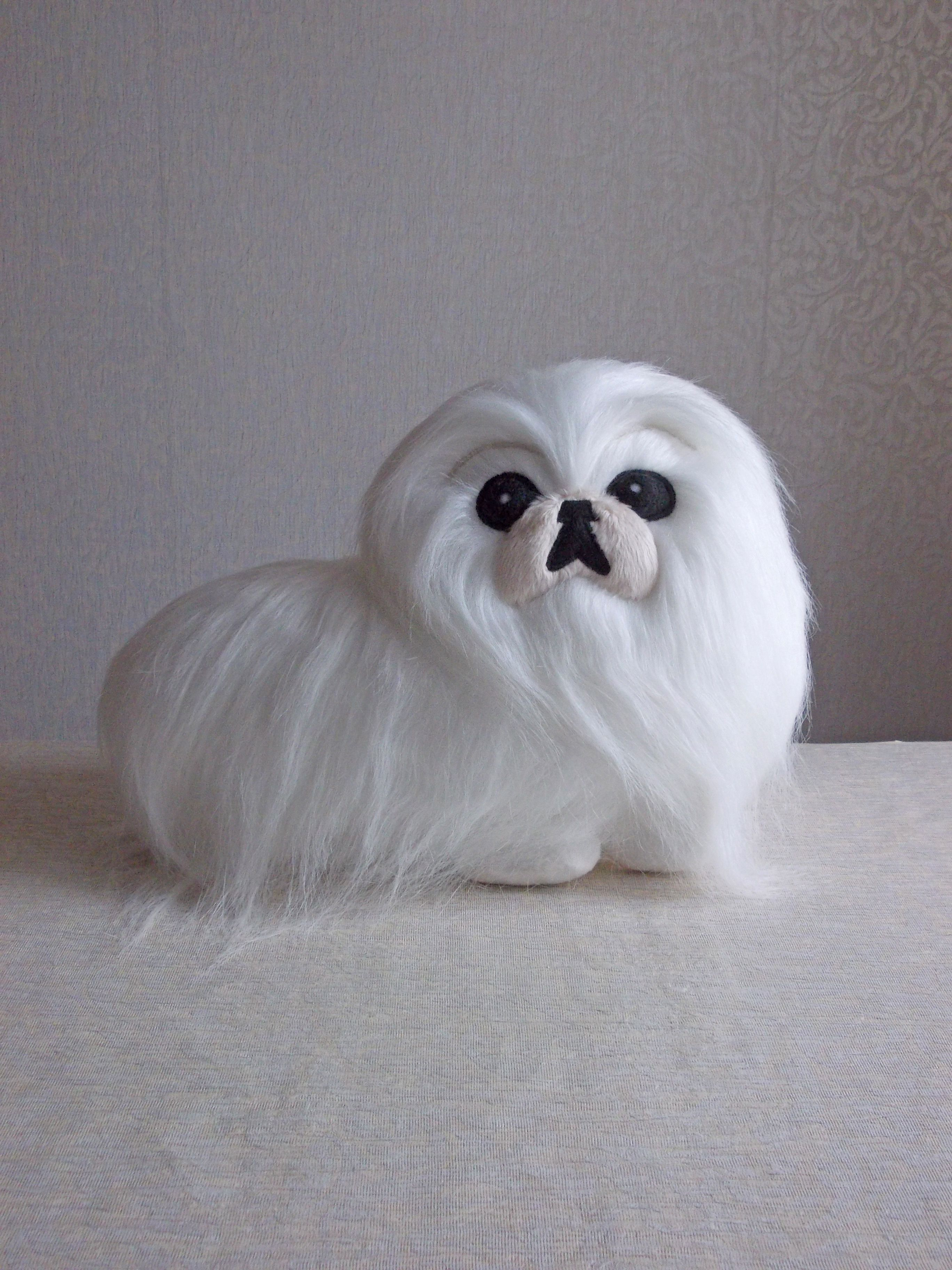Lion Named White Fur Pekingese Stuffed Animal White Pekingese