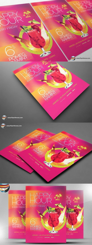 Minimal Happy Hour Flyer Template #photoshop   Happy Design   Pinterest