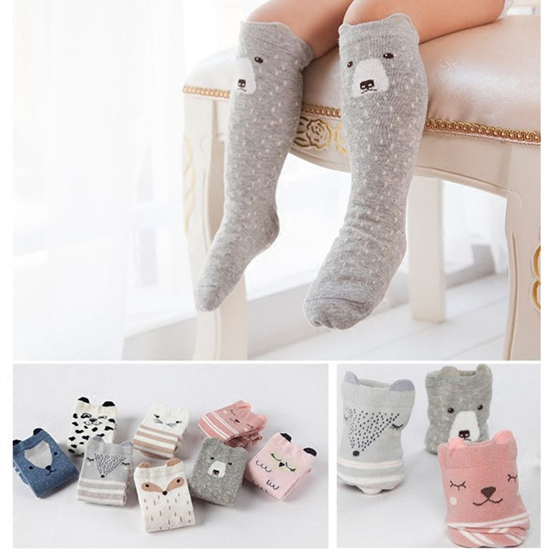 Animal Socks Kids Anti Slip Cute Baby Socks Long Fox Socks Cat