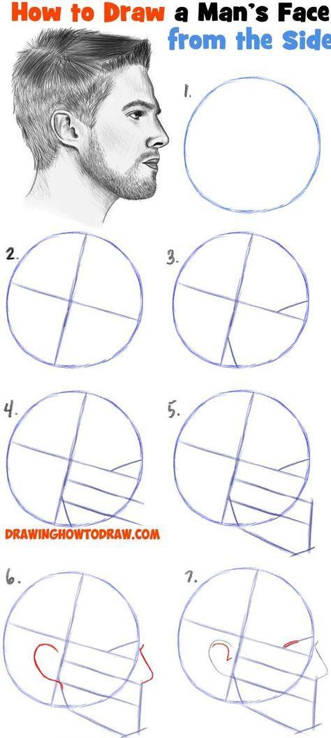 Rostro Humano Como Dibujar Un Hombre Facil Paso A Paso How To Draw A Face From The Side Profile View Male Man Easy