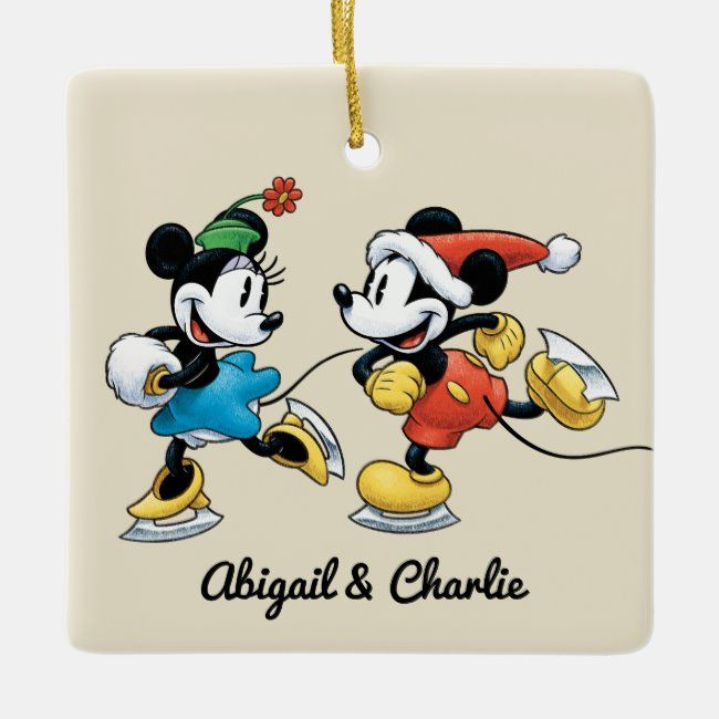 Vintage Disney Mickey Minnie Ice Skating Ceramic Ornament Zazzle Com Vintage Disney Ceramic Ornaments Christmas Pictures Vintage