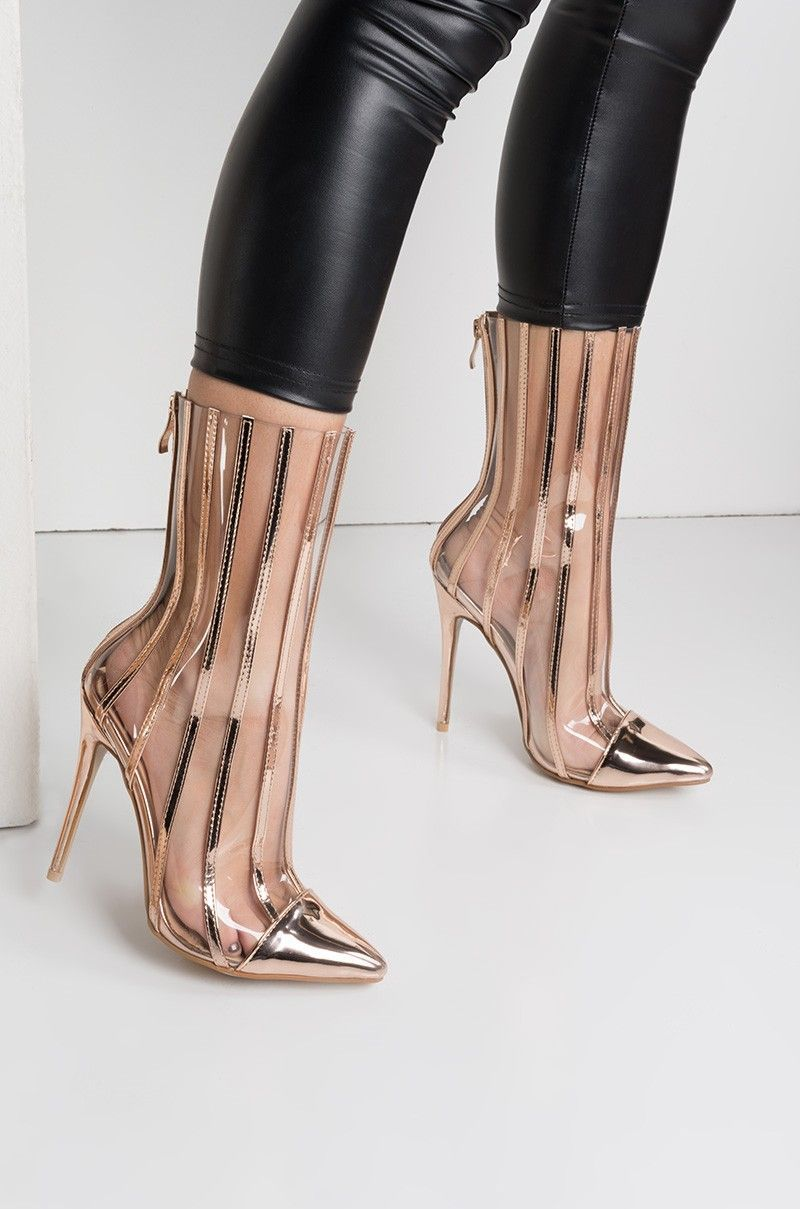 f5cac39cc1d Side View Oh La La Clear Stripes Pointed Toe Booties in Rose Gold ...