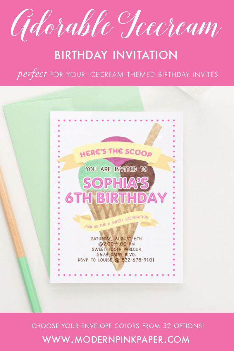 Ice Cream Birthday Invitations, Ice Cream Party Invites | Girl ...