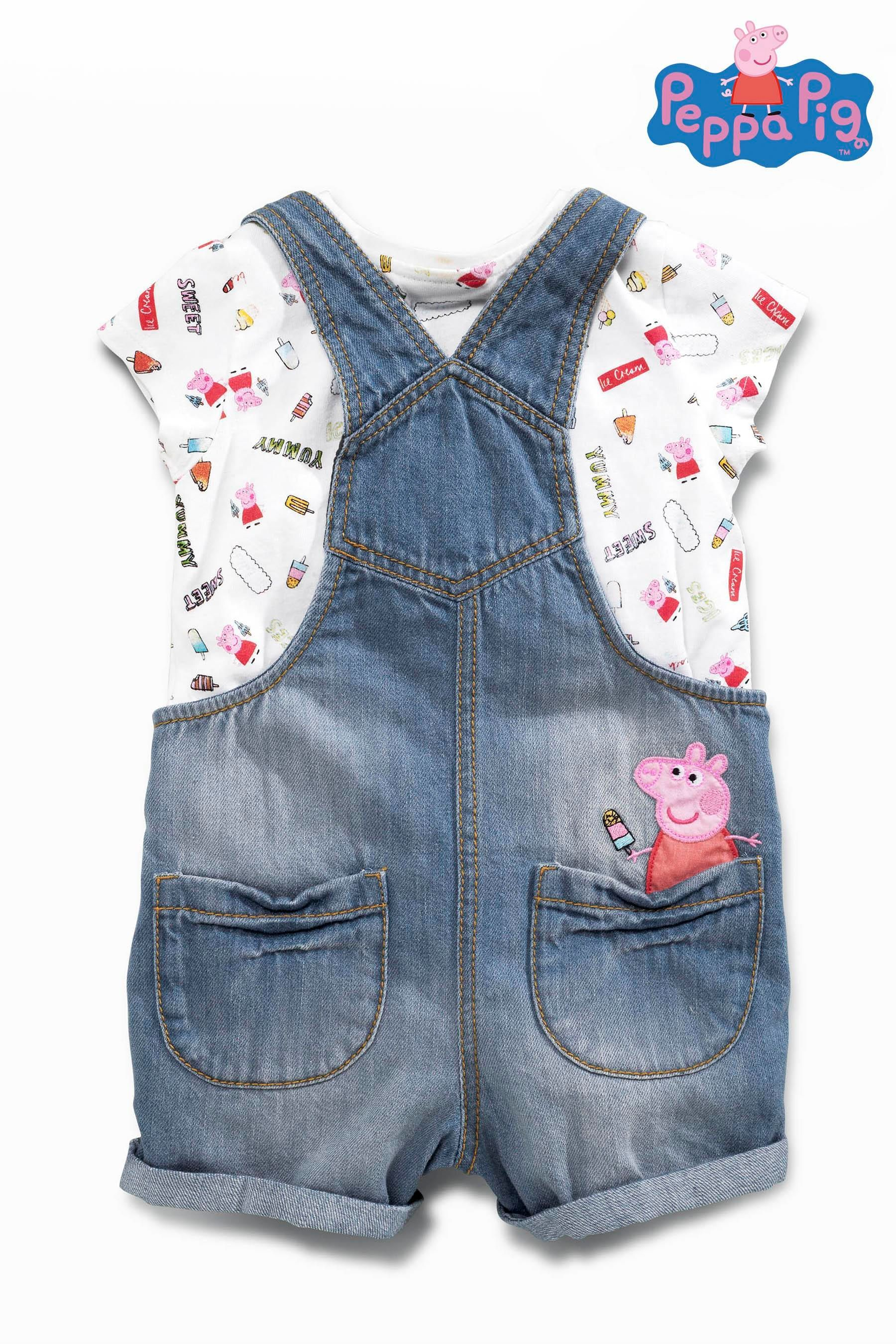 e5ae9ce827a Buy Denim Peppa Pig™ Dungarees Set (3mths-6yrs) from the Next UK ...