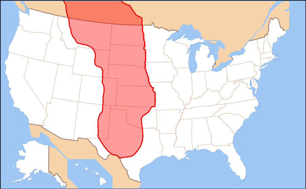 Map of the area covered by the Great Plains | Gold rush days
