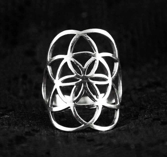 Sterling Silver Seed Of Life Ring Gypsy Bohemian Boho Sacred Geometry Ring