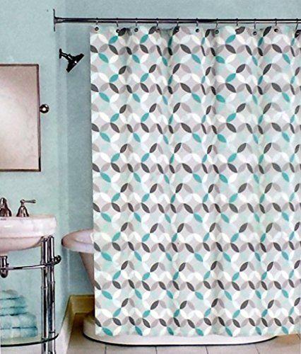 Peri Harmony Fabric Shower Curtain Teal White Geometric On Grey 72 X In