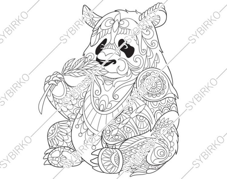 Coloring Pages For Adults Digital Coloring Page Panda Bear Etsy Panda Coloring Pages Animal Coloring Pages Animal Coloring Books
