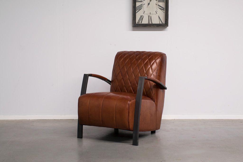 Vintage Fauteuil Kopen.Fauteuil Wieber Vintage Leder Met Industrieel Metaal Art