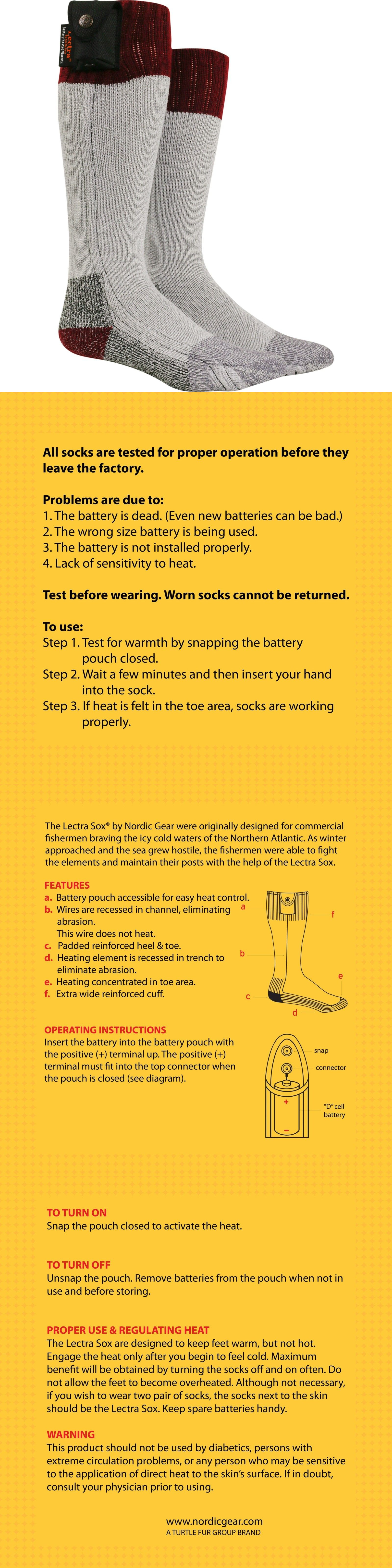 Hand And Foot Warmers 159183 Nordic Gear Unisex Lectra Sox Electric Easy Heat Wiring Diagram Battery Heated Socks Large