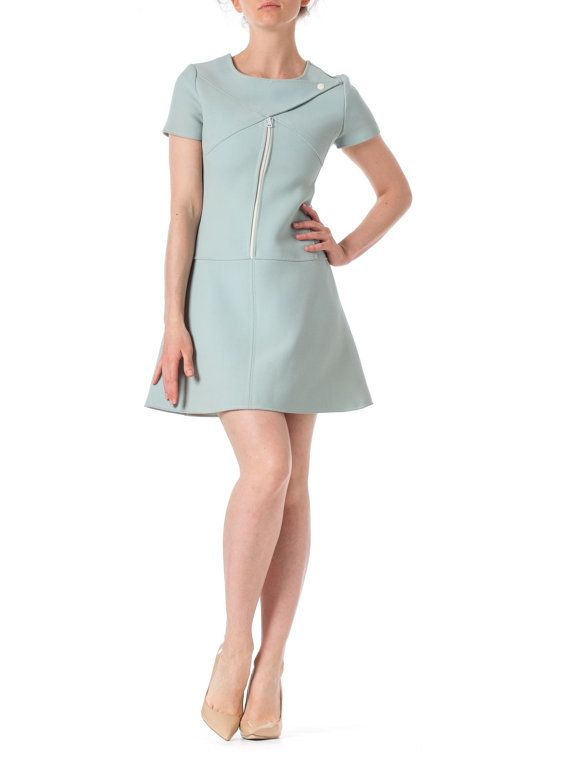 1960s MOD Sky Blue Short Sleeve Wool Dress SIZE: by MORPHEWCONCEPT