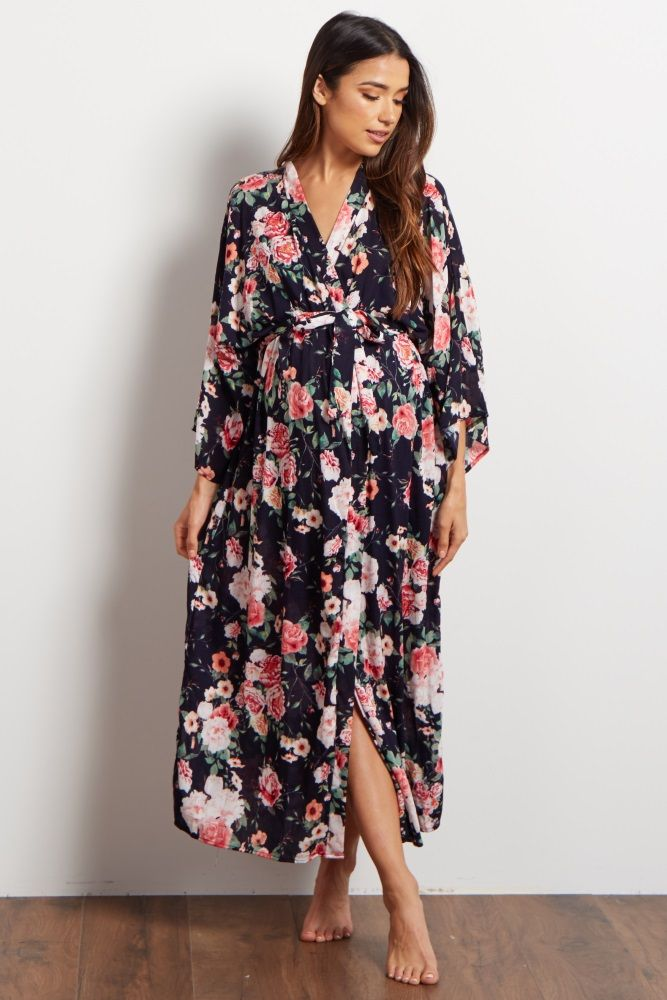 a64885316ba A floral delivery nursing long maternity robe to make sure your visit  during and after the hospital is comfortable and stylish. This robe will  make you feel ...