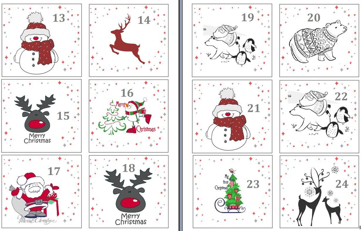 Kalendarz Adwentowy do druku Druk, Szablony do druku i