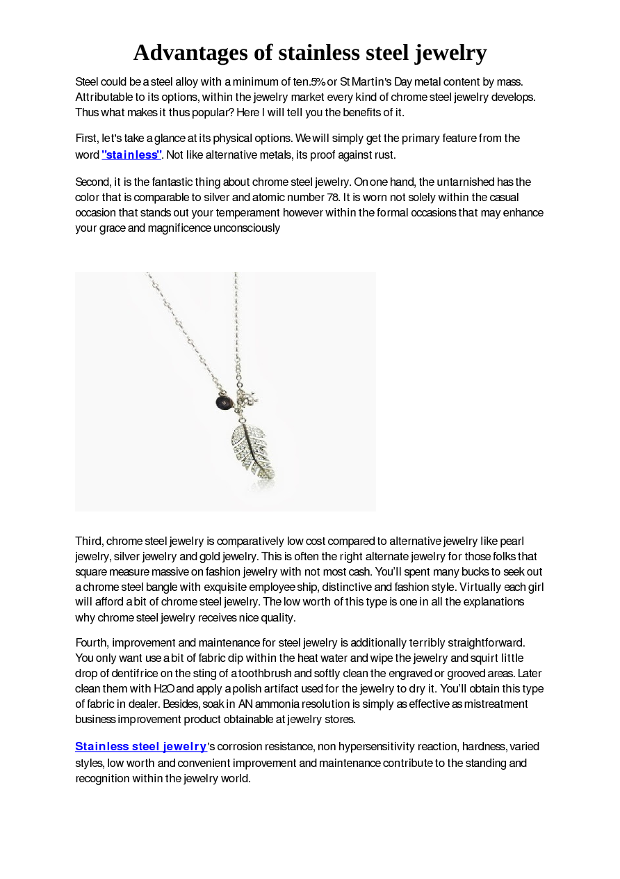 2552aabed94a Advantages of stainless steel jewelry