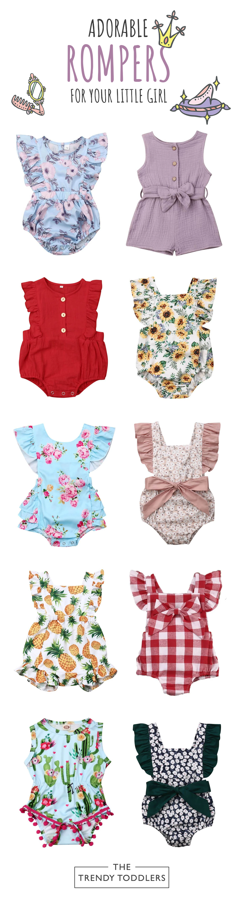 Baby Girl Rompers: Newborn & Infant | The Trendy Toddlers #babygirlhairstyles