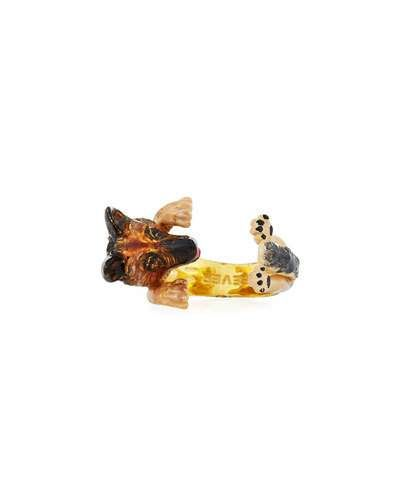 Visconti & Du Réau Yorkie Plated Enamel Dog Hug Ring, Size 6