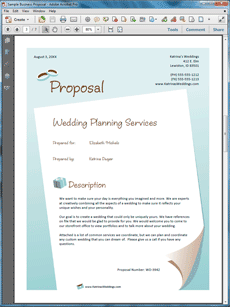 Wedding Planner Services Sample Proposal      Wedding