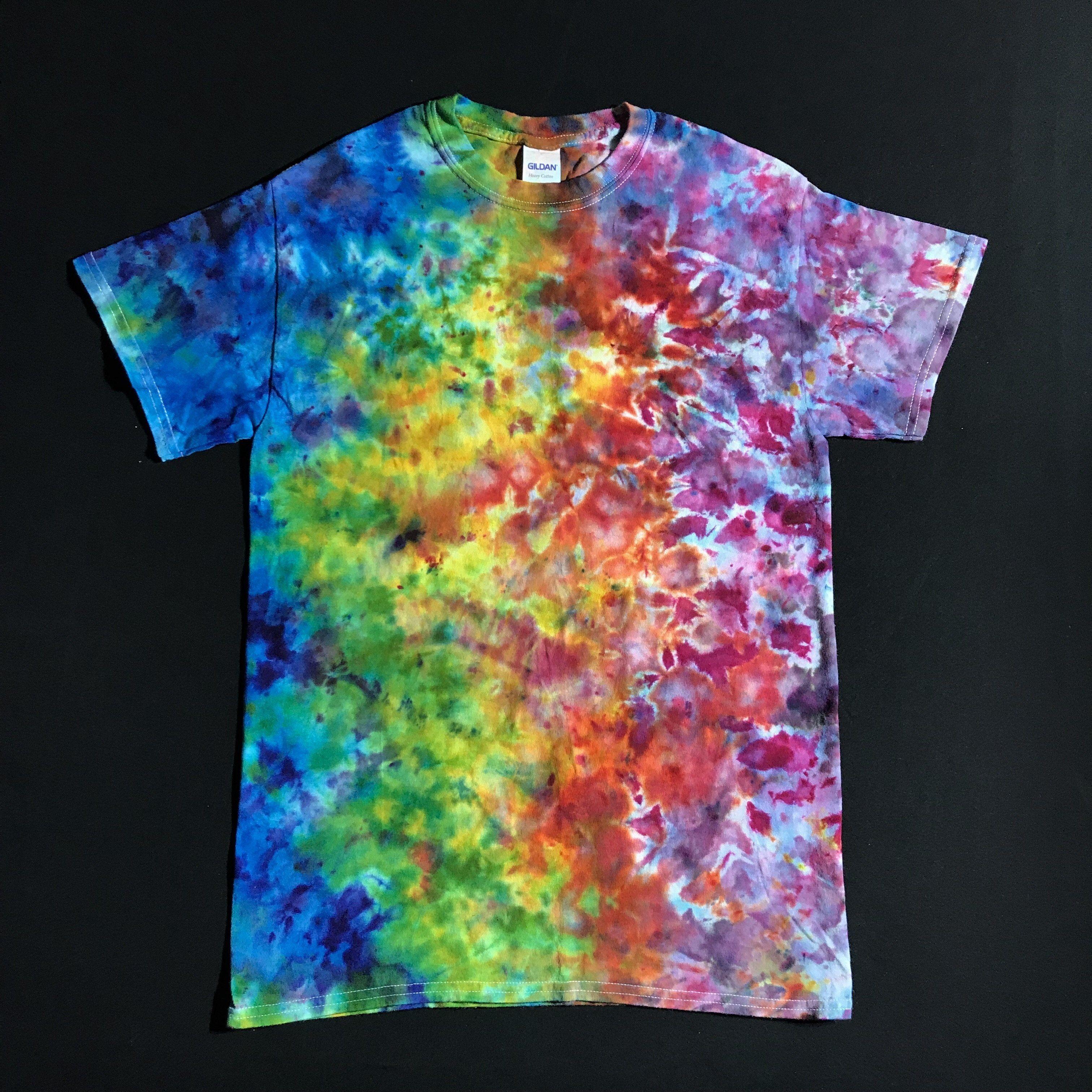 bd50a9810d0d1 Size Small Rainbow Splatter Ice Dye T-Shirt   Tie die   Tie dye ...