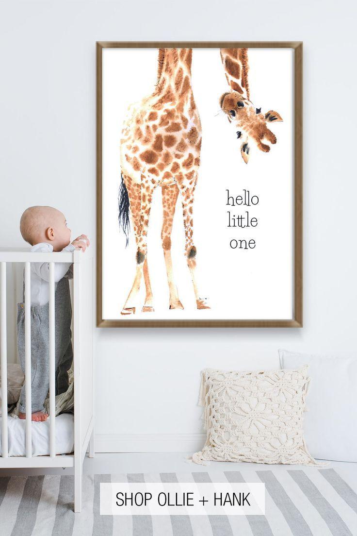 Giraffe Wall Art For Nursery Hello Little One Print Baby