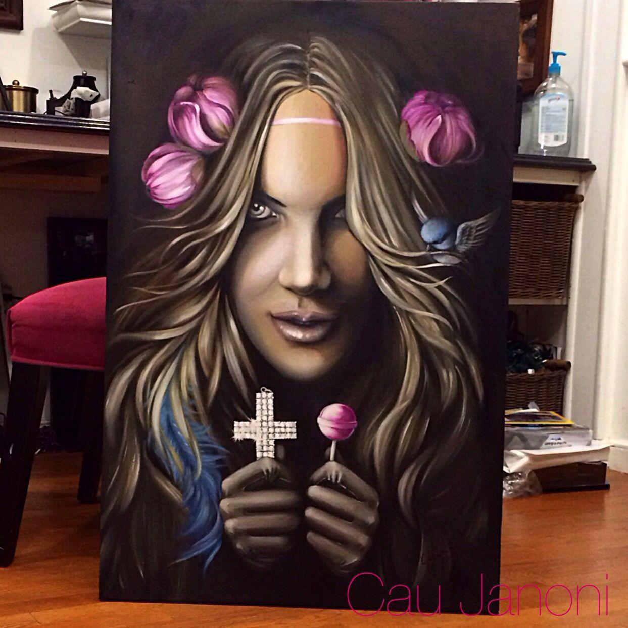 Oil painting by Cau Janoni (tattoo artist)