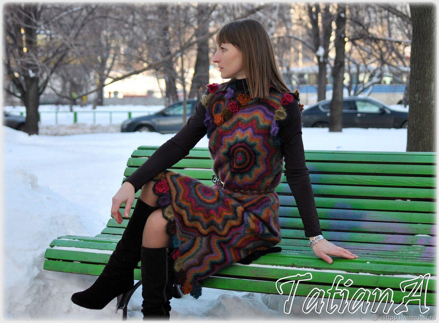 купить ручное вязаное платье