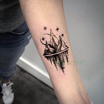 Photo of Waterproof Temporary Tattoo Stickers Moon Hill forest star Fake Tatto Flash Tatoo Tatouage Body Art Hand Foot for Girl Women Men – 3 Dimensional Marketing PTE LTD