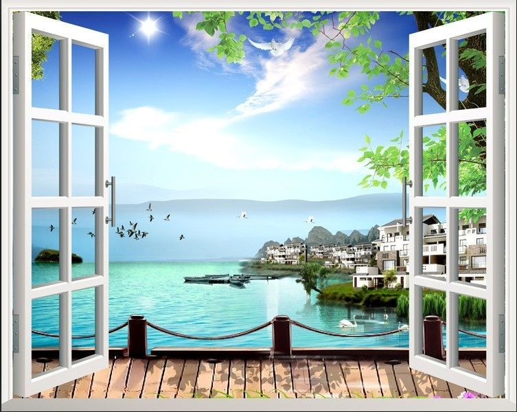 80100cm beach 3d window view removable wall art stickers vinyl decal home decor