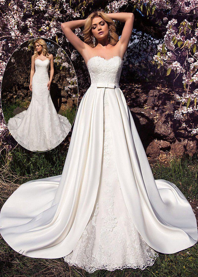 Photo of Lace Wedding Dress, Wonderful Tulle & Satin Sweetheart Neckl…