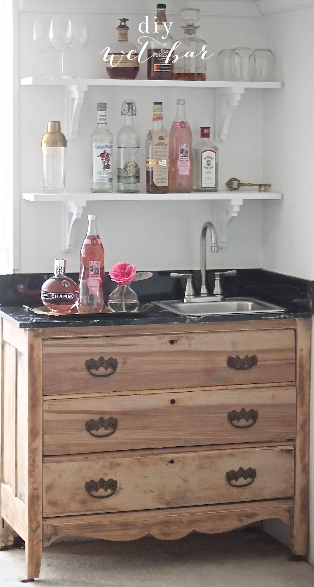 Easy Diy Wet Bar With Open Shelves Salvaged Wood Home Diy Bar