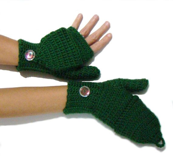 Convertible Fingerless Mittens, Emerald Green Mittens, Convertible Fingerless, Crochet Texting Mittens, Winter Fashion Stylish Gloves,