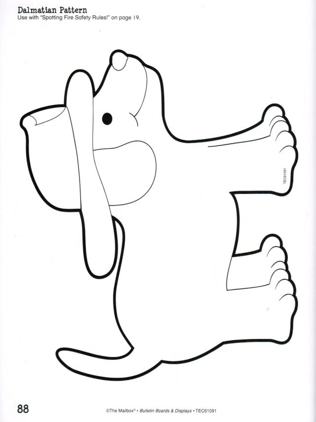 Fire Dog Coloring Page Safety Printable Pattern