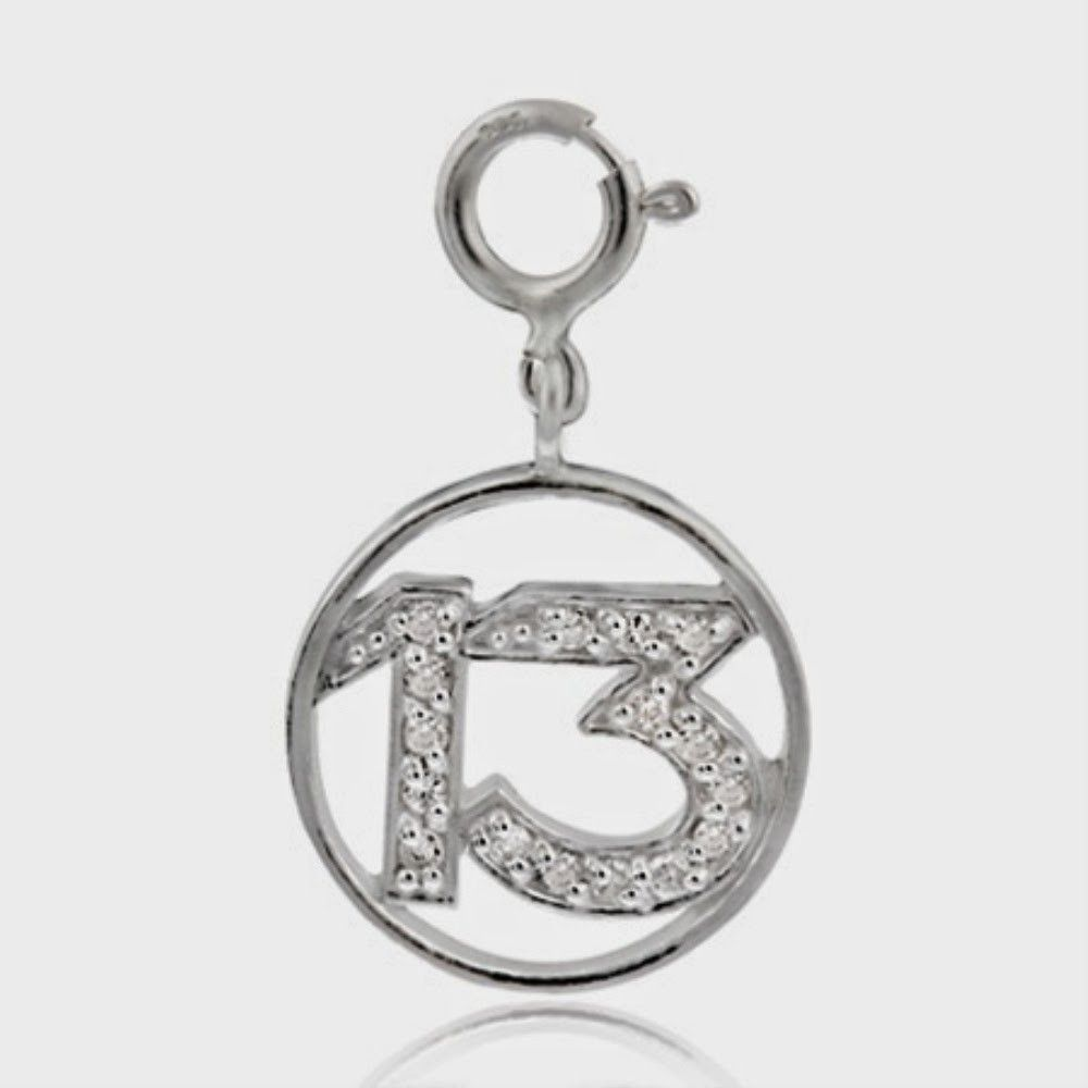 Sterling Silver CZ Number Thirteen Charm