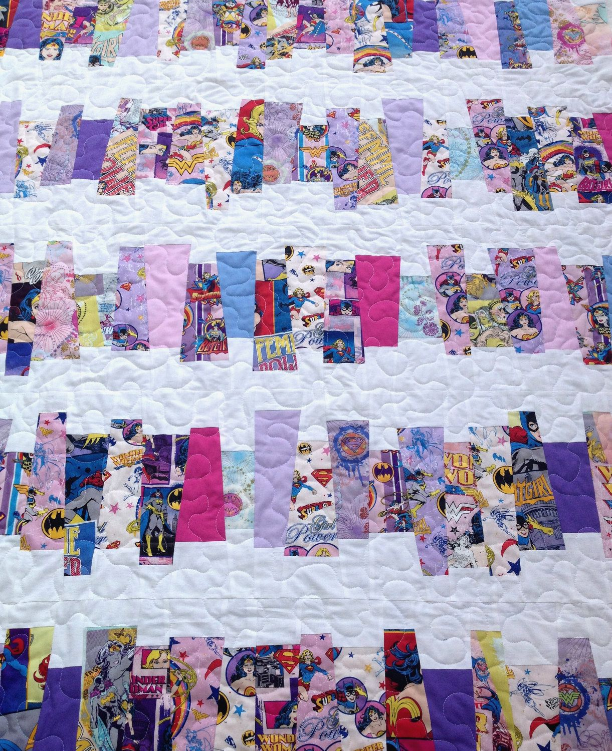 "Handmade Quilt DC Comics ""Girl Power"" Large Throw. $145.00, via Etsy.... awesome :)"