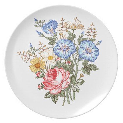 Flowers bouquet floral design illustration plate - romantic gifts ideas love beautiful