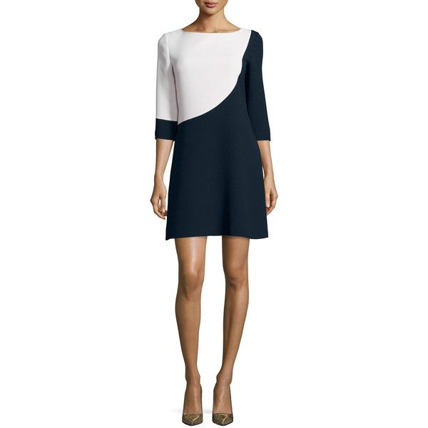 kate spade new york 3/4-sleeve colorblock swing dress (252.260 CLP) ❤ liked on Polyvore featuring dresses, swing skirt dress, trapeze dress, blue dress, blue swing dress and kate spade dresses