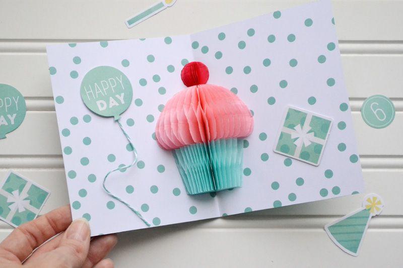 Honeycomb Cupcake Pop Up Card Video Tutorial Cupcake Birthday Cards Birthday Card Pop Up Birthday Cards Diy