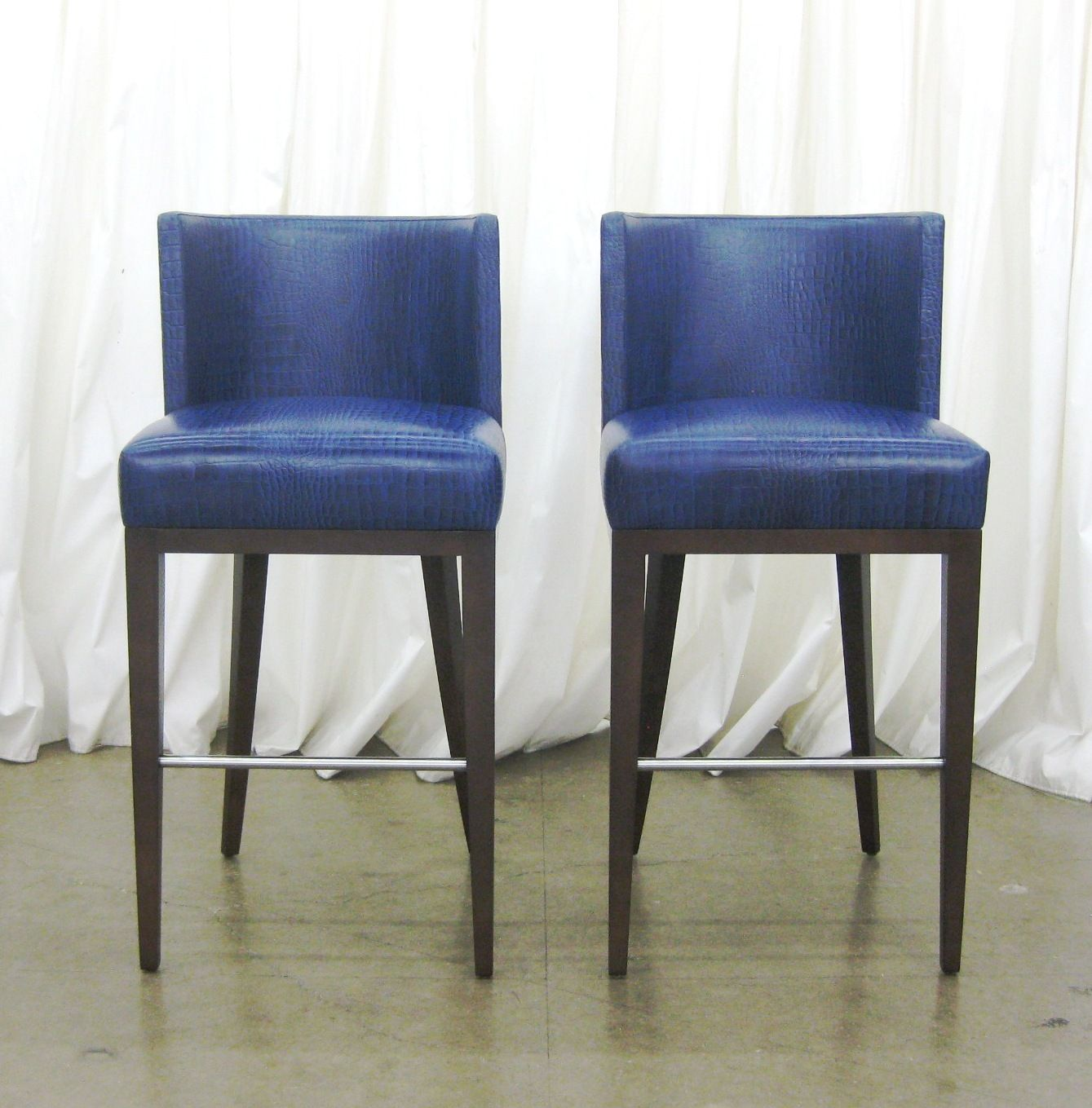 Arabesque Barstools In Blue Leather Bar Stools Home Decor Decor